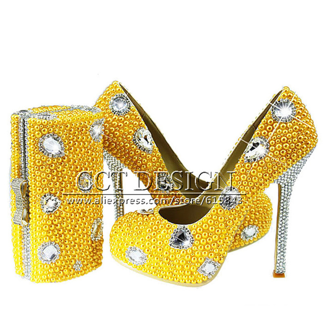 New Yellow Wedding Shoes With Pearls Handmade Sparkly Diamond High ...