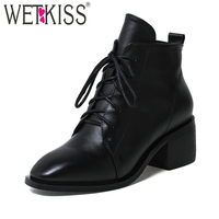 WETKISS British Style Lace Up Ankle Boots High Quality Genuine Leather Women S Winter Boots Autumn
