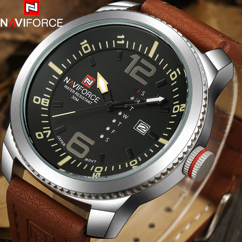 NAVIFORCE 2017 Luxury Brand Fashion Mens Military Sport Watches Men Auto Date Quartz Wristwatches Man Leather Band Casual Clock xinge top brand luxury leather strap military watches male sport clock business 2017 quartz men fashion wrist watches xg1080
