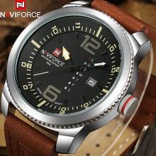 NAVIFORCE 2017 Marca de Moda de Lujo Para Hombre Deporte Militar Relojes Hombres Auto Fecha Relojes de pulsera de Cuarzo Hombre Banda de Cuero Reloj Casual