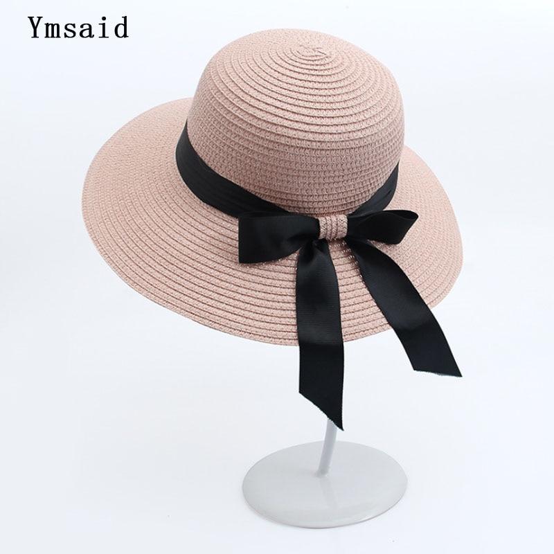 Ymsaid Sun Hat Big Black Bow Summer Hats Women Foldable Straw Beach Panama Hat Visor Wide Brim Femme Female Bohemia Shade Hat