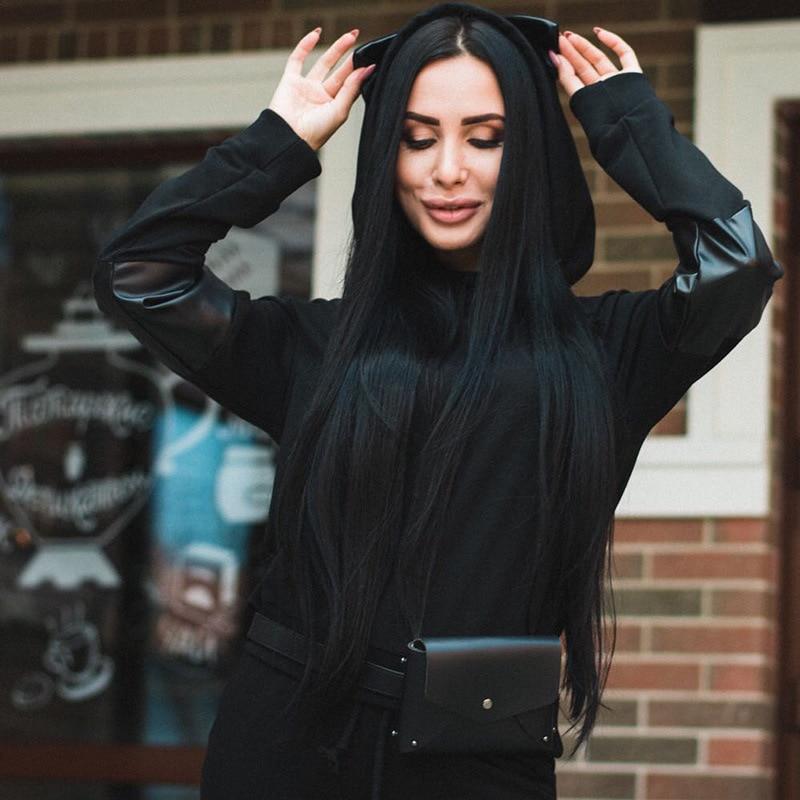 Printemps Rue Cordon Femme Cuir Chat pièce Capuche 2019 Noir Oreilles Limitée Costume Plein En À Nouveau Deux Décontracté Coutures Coton Pu Pour nWAApwqI