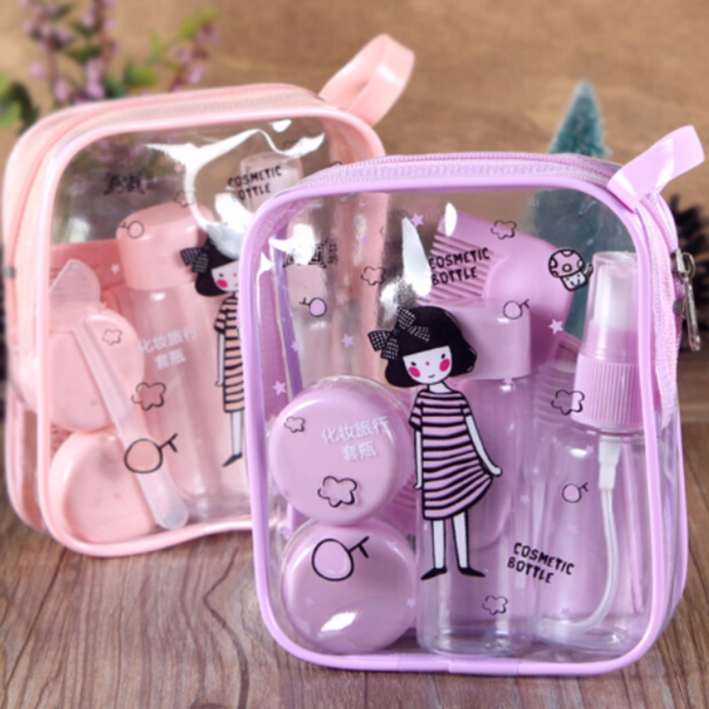 8 Pcs/Set Mini Empty Cosmetics Container Bottle Plastic Travel Transparent Bottle Eyeshadow Makeup Face Cream Jar Pot Bottle