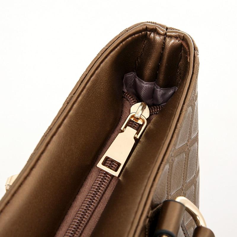 Women 39 s handbags 6 pcs set women 39 s handbag fashion plaid shoulder bag handbag messenger bag in Shoulder Bags from Luggage amp Bags