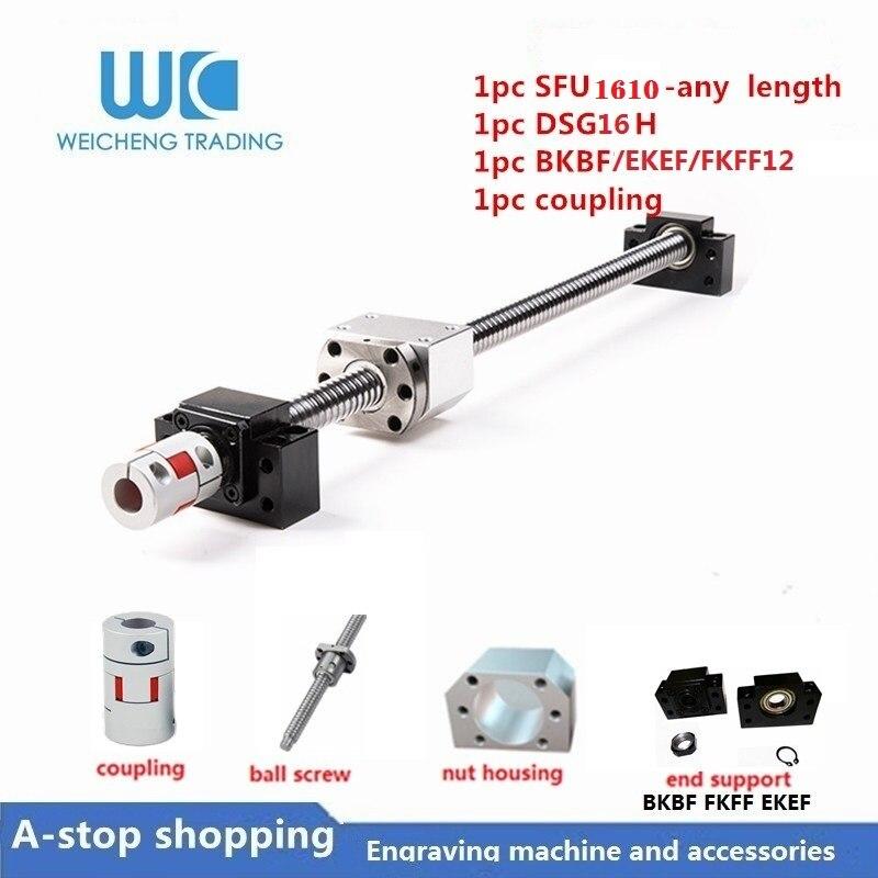 1 pièces 16mm plomb 10MM vis à billes 1610 toute longueur roulée vis à billes SFU1610 avec écrou à billes simple + 1set BKBF/EKEF/FKFF12 fin suppor