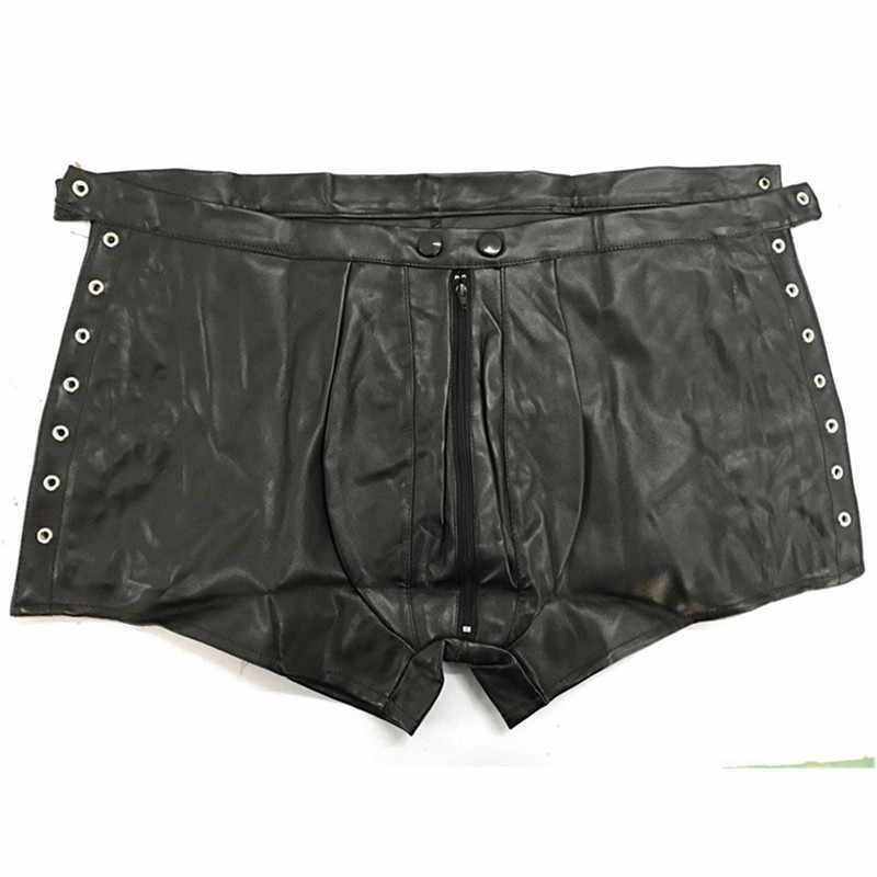 Seksi iç çamaşırı Sıcak Erkek Lateks PVC Esaret açık crotch tayt Şort Gotik Fetiş Eşcinsel Faux Deri Lace Up kısa pantolon clubwear