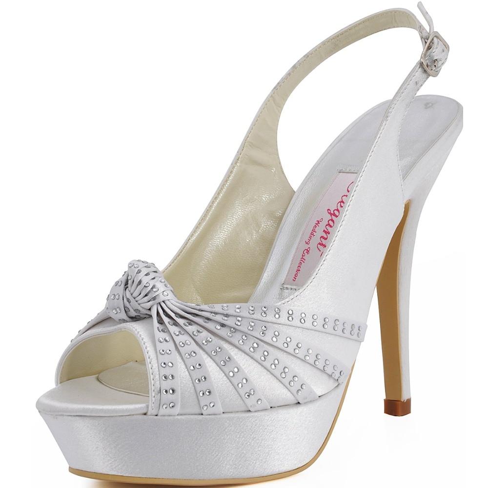 ФОТО Free shippong EP11060-PF White Ivory Women Open Toe Satin Evening Party Platform Sandal Wedding Bridal Shoes