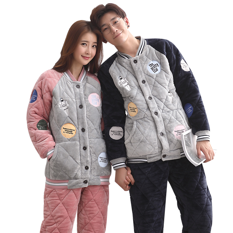 Three Layer Thickening Winter Couple Pyjamas Sets Women Quilted Jacket Coral Velvet Quilted Pyjamas Mensthick Warm Flannel Suit