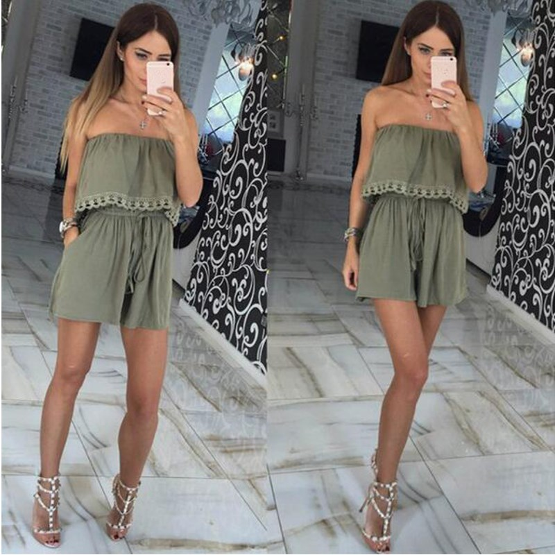 2018 Summer Elegant Women Playsuit Strapless Off The Shoulder Sexy Plain Jumpsuit Shorts Romper For Ladies Casual Party Overalls