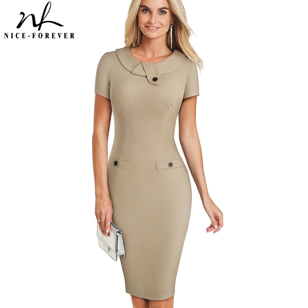 Nice-forever Vintage Elegant Solid Color With Button Female Work Vestidos Business Bodycon Office Women Sheath Dress B511