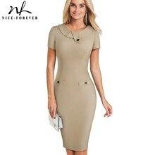 Nice forever Vintage Elegant สีทึบหญิงทำงาน vestidos ธุรกิจ Bodycon สำนักงานผู้หญิงชุด B511