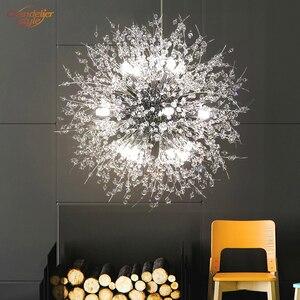 Image 2 - 現代クリスタルシャンデリア照明グローブクリスタルシャンデリアライトラウンドホームレストランの装飾用のランプ備品ハンギング