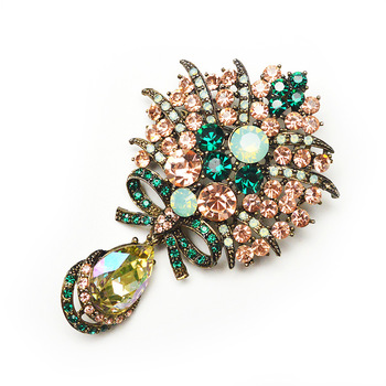 new arrival big crystal water drop flower brooches for women vintage fashion brooch and pin imported rhinestone gold plated gift
