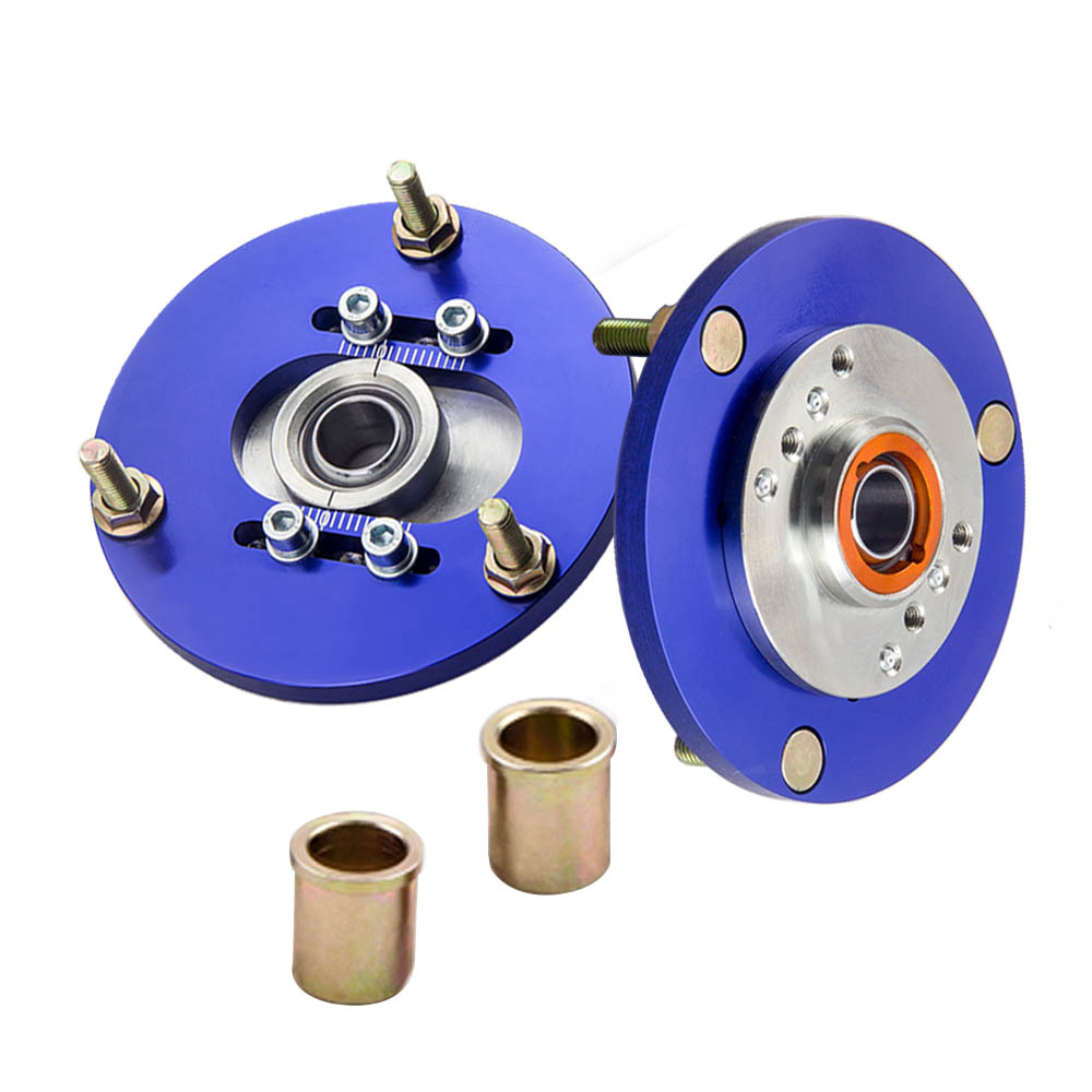 2pc Adjustable Front Camber Plates For BMW E36 3 Series 318i 323is 325i 325is Top Mount Pillow Ball BLUE