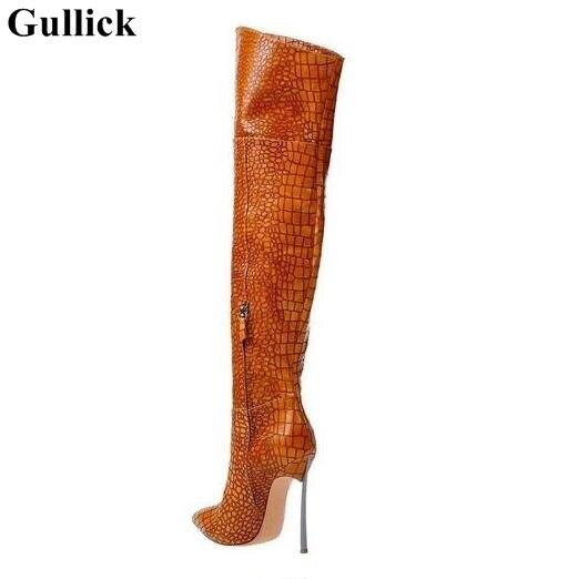 Gullick Seksi Kobra Cilt Deri Diz Çizmeler üzerinde Sivri Burun Bıçak Topuklu Uyluk Yüksek Çizmeler Siyah Kahverengi Fermuar Uzun çizme