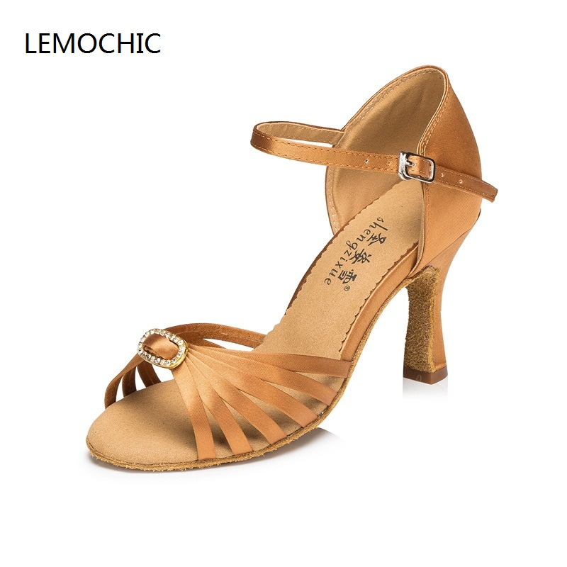 LEMOCHIC modest girls and women hot sale rumba samba latin tango cha cha pole salsa ballroom pointe professional dancing shoes