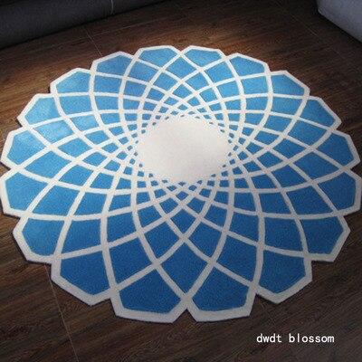 Черный круглый ковер alfombras современные ковры ручной работы для гостиной спальни модные креативные журнальный столик диван tapete - Цвет: Небесно-голубой
