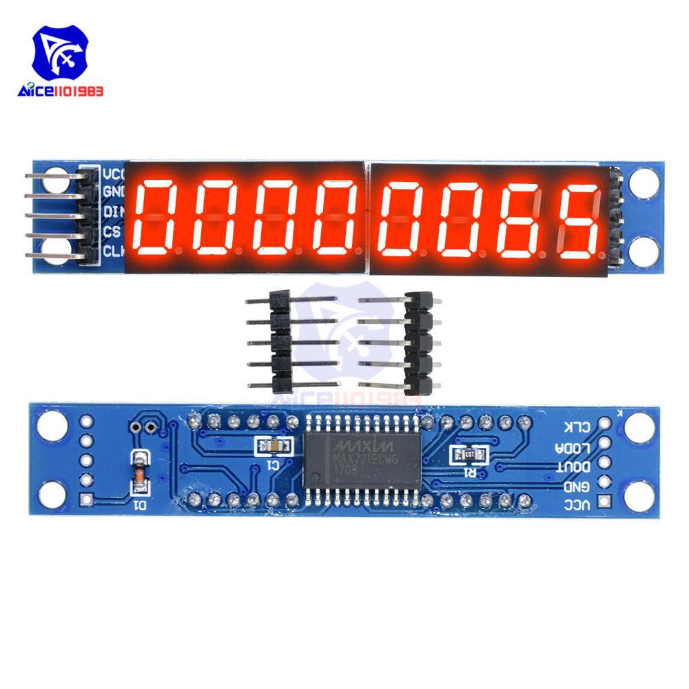 Diymore MAX7219 8 Digit LED Tube Display Control Module For Arduino 3.3V 5V Microcontroller Serial Driver 7-segment