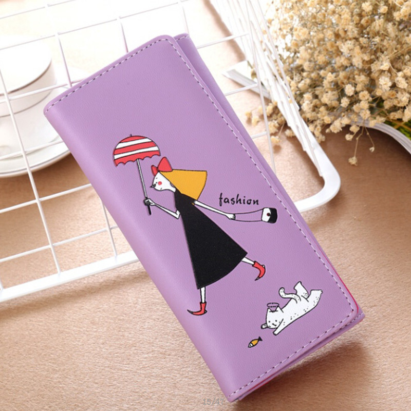 DUDINI 3 Fold Women Long Wallets Fashion Cute Girl Coin Pocket Wallet PU Leather Ladies Clutch Money Bag Card Holder Purse cartoon pokemon go purse pocket monster pikachu johnny turtle ibrahimovic zero wallets pen pencil bags boy girl leather wallet