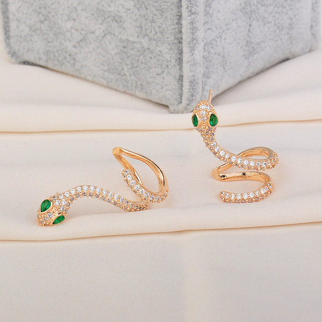 High Quality Woman Elegant Rhinestone Snake AAA Cubic Zirconia Gold Color Luxury Stud Earrings GLE6137.jpg 640x640 - High Quality Woman Elegant Rhinestone Snake AAA Cubic Zirconia Gold Color Luxury Stud Earrings GLE6137