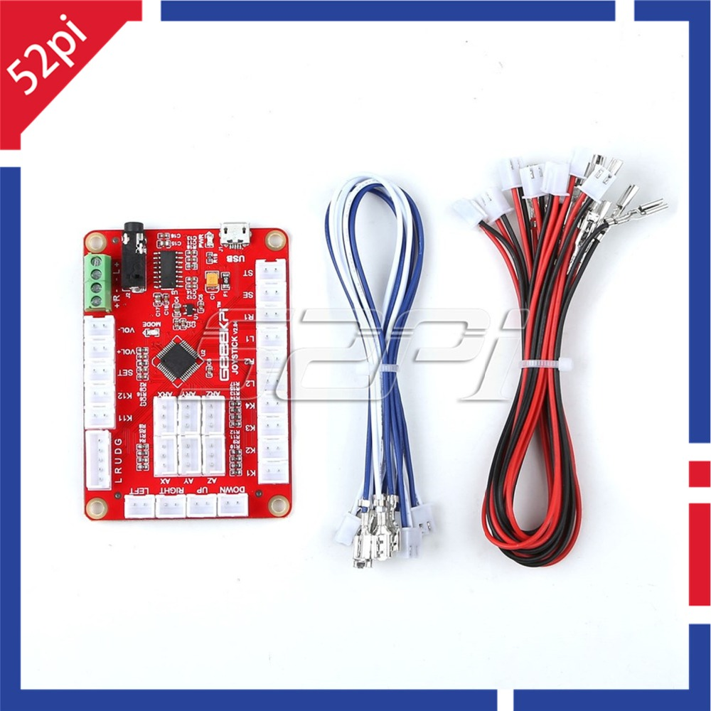 52Pi Zero Delay USB Encoder Red Control Board To PC Joystick With Cables For Arcade Joystick DIY Kits Parts Game Raspberry Pi