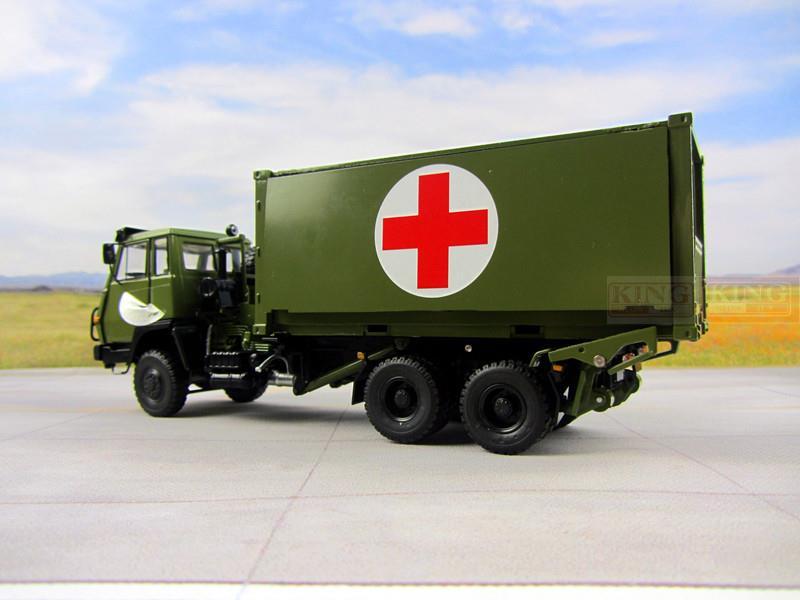 1:43 échelle Steyr Camion Médical Camion pour armée Chinoise Militaire Shan Xi Automobile rouge croix camion PLA Conteneurs lourds camion