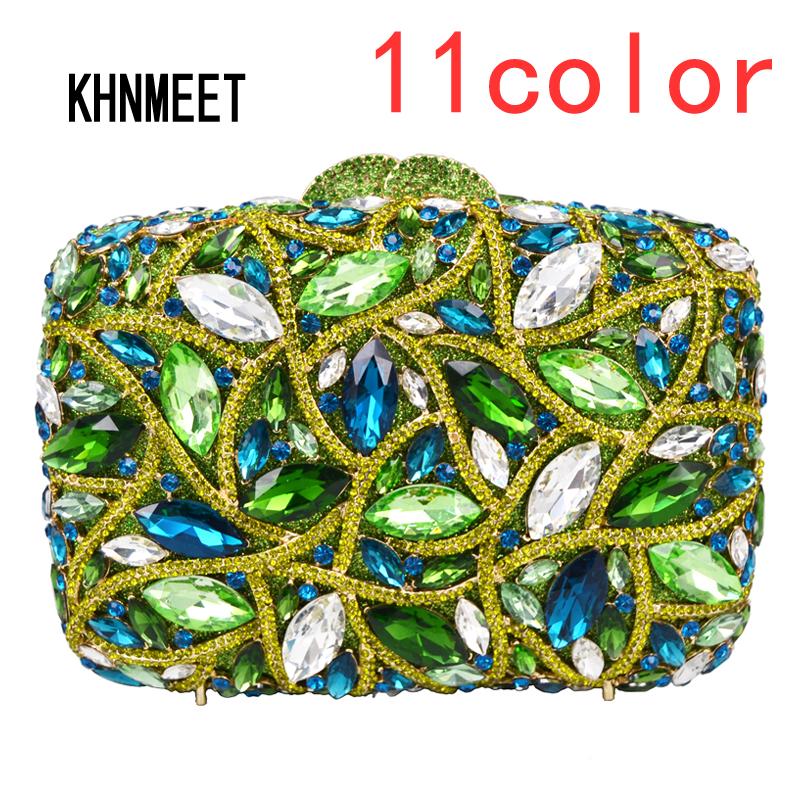11 color Green Crystal Luxury Diamond Clutch Bag Purple Women Party Wedding Purse Bridal Handbags Ladies