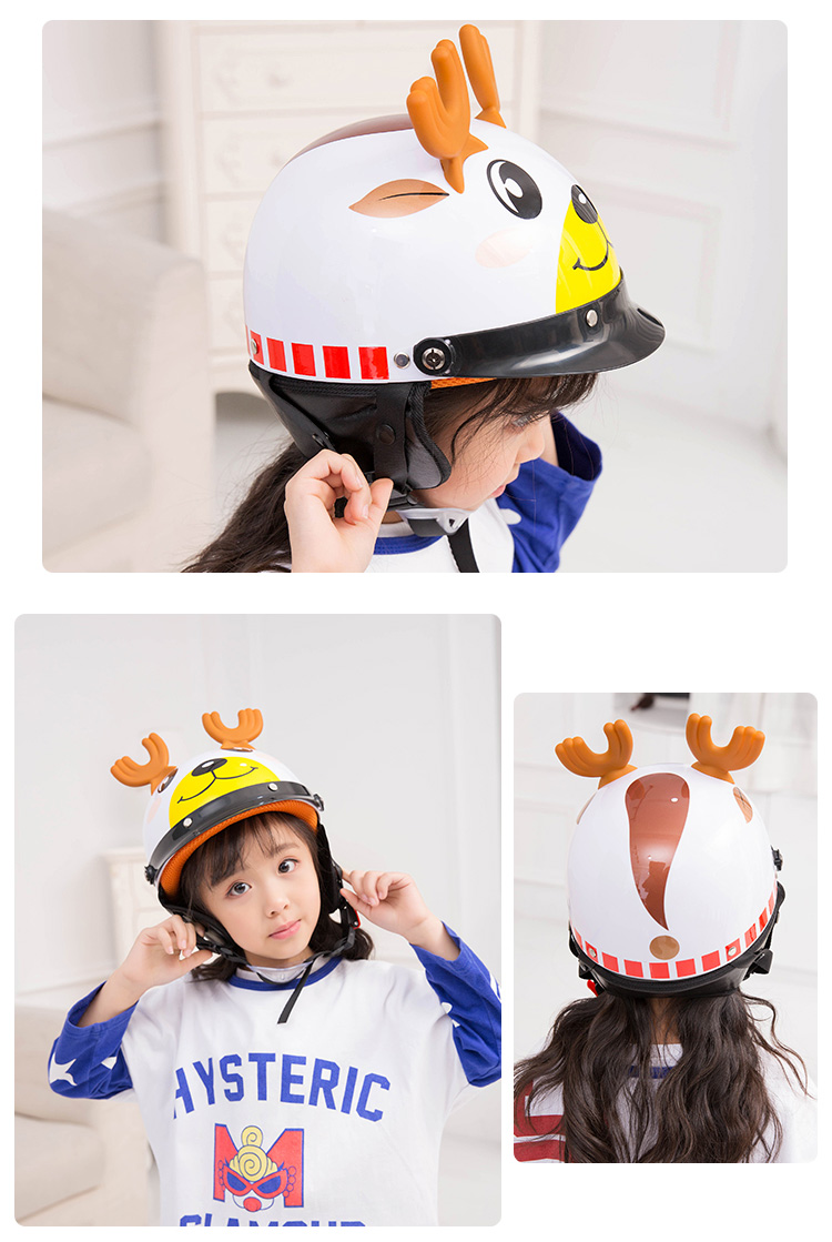 Image 4 - Electric Vehicle Sccoter Kids Half Helmet Children Safety Boy Girl Cartoon Motorcycle Helmet with Goggle Visors for 3 10 years-in Helmets from Automobiles & Motorcycles