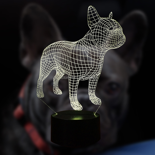 Dropshipping French Bulldog 3D LED Night 7 Colors USB Hologram Decor Lamp Table Desk as gift for dog lover