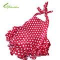 Девочки ползунки малыши платье без рукавов купальник с юбками младенческой ребенка носить атлас милые цветы печать