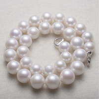 Women Gift Word 925 Sterling Silver Real 14 18mm Round Super Large Rare Giant Freshwater Pearl