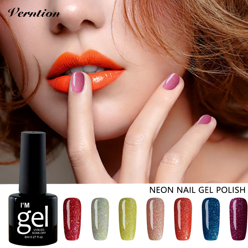 Verntion Lucky Colorful Neon Uv Glue Soak Off Semi Permanent Uv Gel Color Set Professional Led Nail Lamp 8ml Uv Lacquers