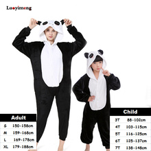 Animal Cartoon Kigurumi Stitch Panda Pajamas Unicorn Onesie For Women Kids Pyjamas Boys Girls Cosplay Costumes Sleepwear