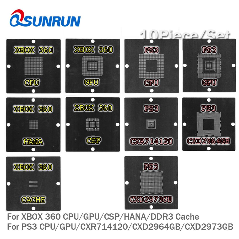 10 pcs 90x90 mm BGA Rebaling Stencils Kit For PS3 CPU GPU CXR714120 CXD2964GB CXD2973GB / XBOX 360 CPU GPU CSP HANA DDR3 Cache 1pcs ps3 gpu cxd2981 cxd2981agb bga new