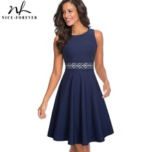 Хороший-навсегда Винтаж Элегантный Вышивка цветочные кружева лоскутное vestidos-линии Pinup Бизнес Для женщин вечерние Flare Swing платье A079