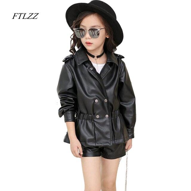 2f88fdff6a63 FTLZZ 2019 Spring Autumn Baby Girls Clothing Pu Leather Jackets Coat ...