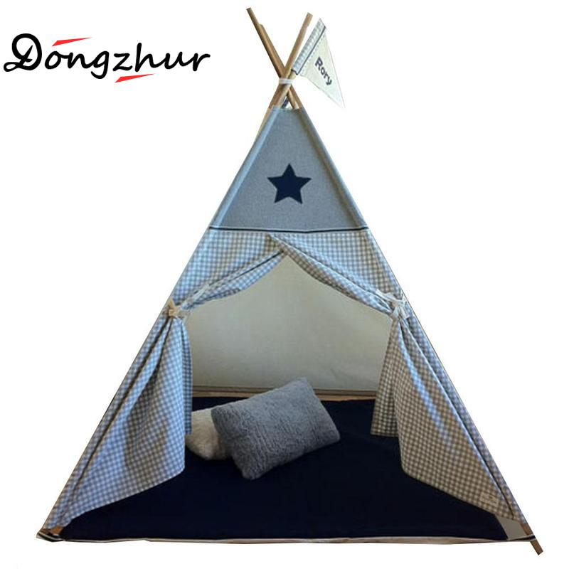 Dongzhur European Style Kids Teepee Tent Cotton Canvas Teepee Children Toy Indian Tent Gray Plaid Play House For Baby Room Tipi yellow chevron pet teepee dog bed house teepee for dogs rabbit teepee