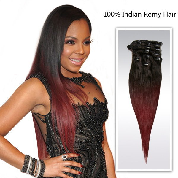 18inch Ombre Color Hair Extension Brazilian Human Straight Hair Clip