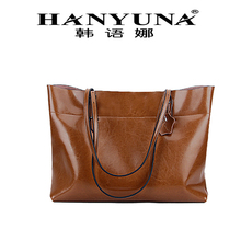 HANYUNA BRAND Oil Wax Horizon Type Cow Leather Genuine Leather Shoulder Bag Handle Bag with Big Capacity Casual Totes