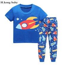 H.kong baby children's sleepwear kids cartoon clothing set boys pajamas cheap kids cotton pajama sets girls Casual home pyjamas