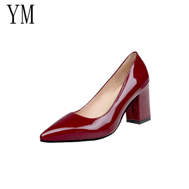 2018 New Women Pumps Black High heels 7.5cm Lady Patent leather Thick with Autumn Pointed Single Shoes Female Sandals Big 33-43