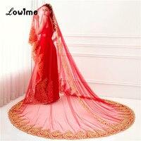 2018 New Arrival Red Wedding Veil 3.5 Meters Long Gold Appliqued Bridal Veil Veu De Noiva Longo One Layer Voile Mariage Hot Sale