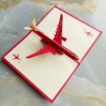 Бумага ручной работы 3D стереоскопический самолет поздравительная открытка Складной Тип уникальные творческие Китайские Этнические ремесла открытки подарки