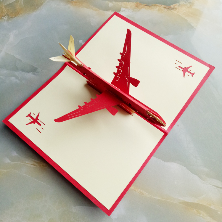 Handmade Paper Cut 3D Stereoscopic Aircraft Greeting Card