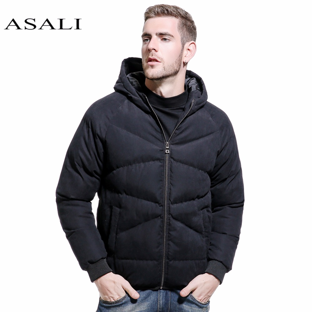 ASALI New Mens Casual Parkas Solid Fleece Winter Bomber Jacket Men Fashion Hooded Thick Warm Padded Overcoat Outwear Parkas