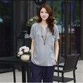 2016 mujeres del verano T-shirt de algodón lino con cuello en v manga corta camisetas de gran tamaño delgado flojo Tops para mujer de moda T-shirt G2495