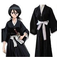 Anime Bleach Kurosaki ichigo Cosplay Costume Unisex Black Kimono Robe Cloak Free delivery