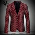 Bleiser Hombre Impresso Padrão Geométrico da Manta do vintage Moda Coreano Homens Blazer Vermelho Terno Magro Blazer Do Vintage Dos Homens M-4XL