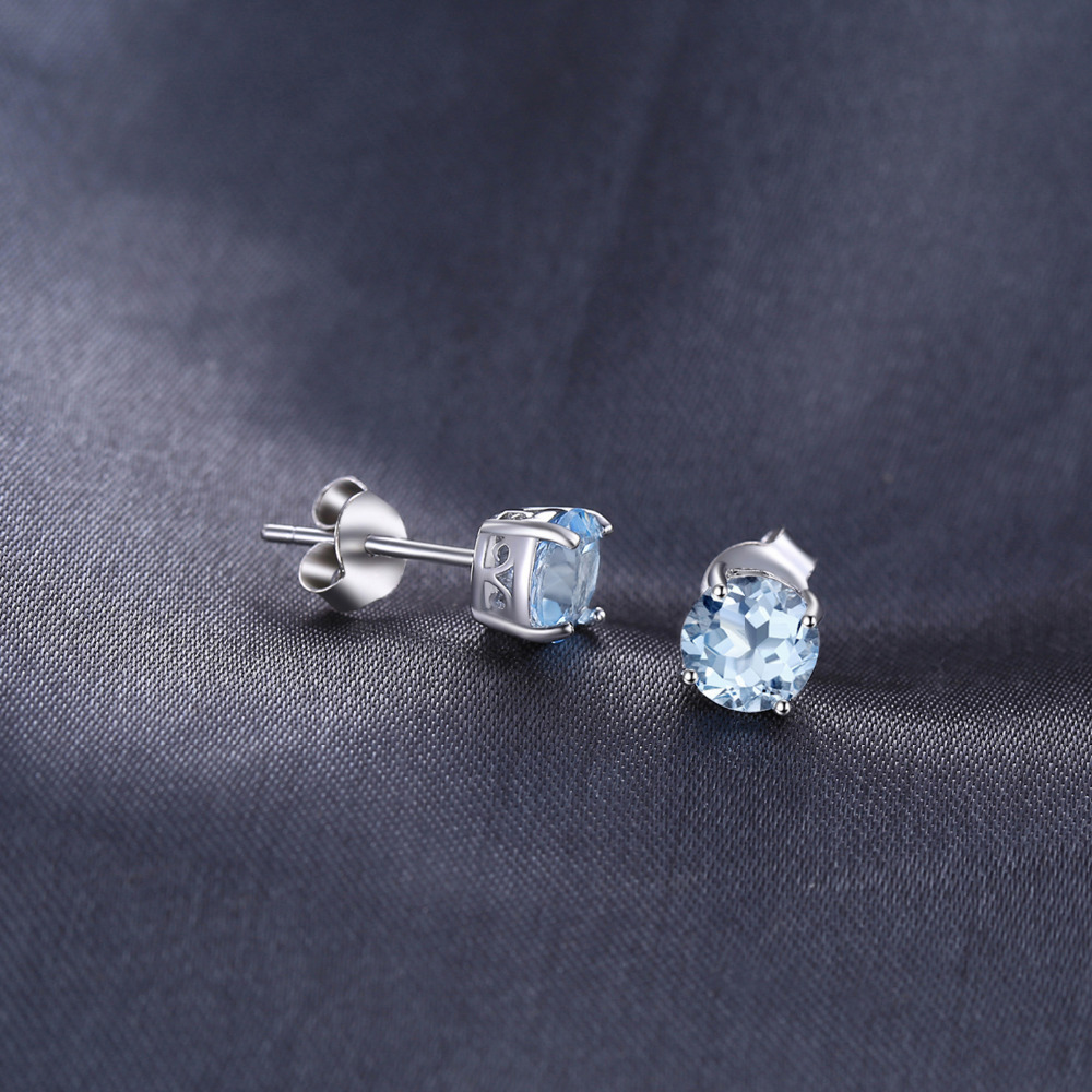 JewelryPalace Round 2ct Natural Sky Blue Topaz Birthstone Stud Earrings 925 Sterling Silver mieOc7E