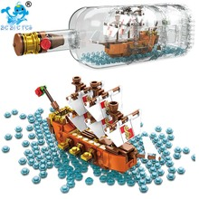 2019 NewIDEAS Ship Boat In A Bottle 1080Pcs Playmobil Building Blocks Bricks Toys for Children Compatible Legoing IDEAS 21313